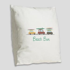 Beach Bum Burlap Throw Pillow