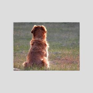 dog looking away 5'x7'Area Rug