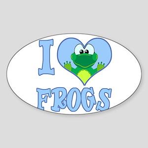 I Love (Heart) Frogs Oval Sticker