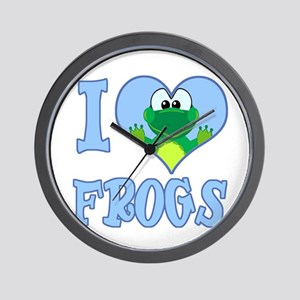 I Love (Heart) Frogs Wall Clock