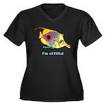 Funny cartoon fish Women's Plus Size V-Neck Dark T