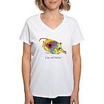 Funny cartoon fish Women's V-Neck T-Shirt