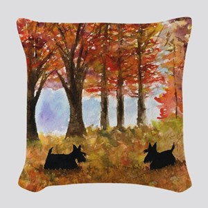 Autumn Scottie Dogs Woven Throw Pillow