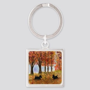 Autumn Scottie Dogs Square Keychain