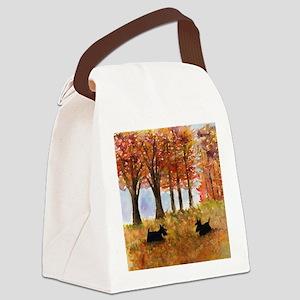 Autumn Scottie Dogs Canvas Lunch Bag
