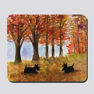 Autumn Scottie Dogs Mousepad
