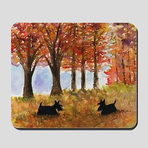 Autumn Scottie Dogs Mousepad