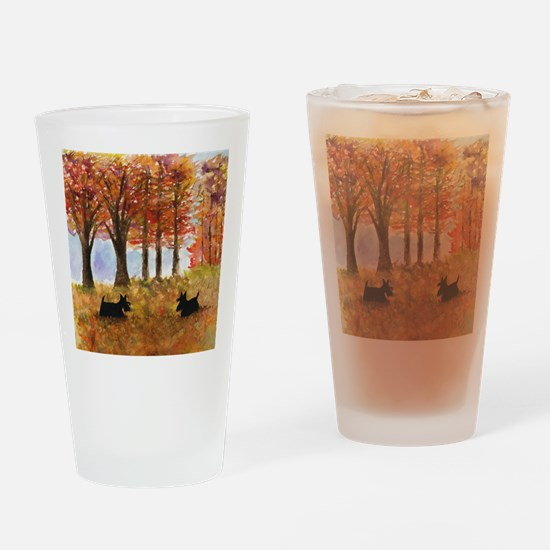 Autumn Scottie Dogs Drinking Glass