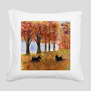 Autumn Scottie Dogs Square Canvas Pillow