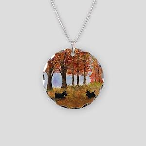 Autumn Scottie Dogs Necklace Circle Charm