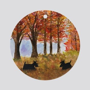 Autumn Scottie Dogs Round Ornament