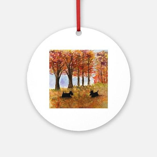 Autumn Scottie Dogs Round Ornament