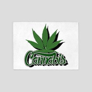 Cannabis with Leaf 5'x7'Area Rug