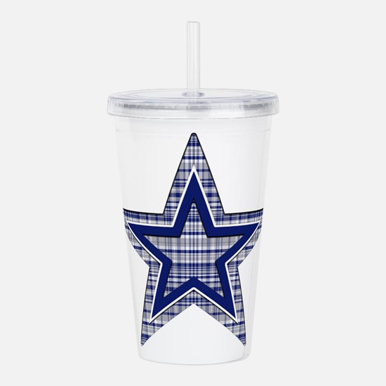 Blue and Silver Plaid Acrylic Double-wall Tumbler