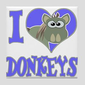 I Love (Heart) Donkeys Tile Coaster