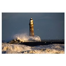 Lighthouse And Waves, Sunderland, Tyne And Wear, E Poster