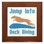 Jump Into Diving Dogs Framed Tile
