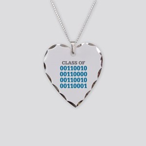 Class of 2021 Binary Necklace Heart Charm