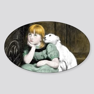 Dog Adoring Girl Victorian Painting Sticker