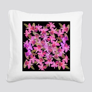 Orchid Flowers Square Canvas Pillow
