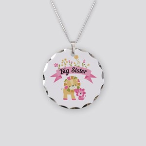 Big Sister Lions Necklace Circle Charm