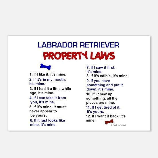 Labrador Retriever Property Laws 3 Postcards (Pack