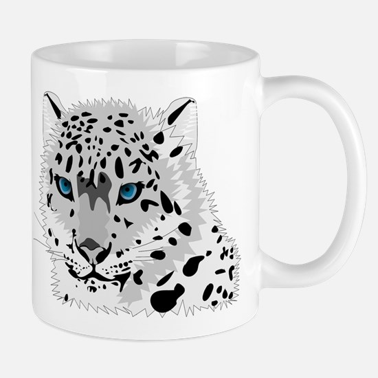 Beautiful Blue Eyed Snow Leopard Mugs