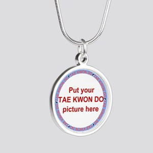 Tae Kwon Do Your Photo Silver Round Necklace