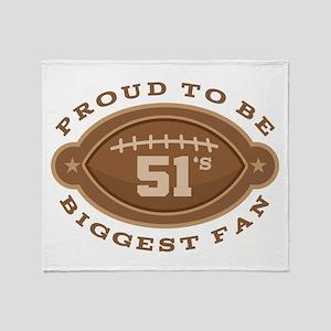 Football Number 51 Biggest Fan Throw Blanket