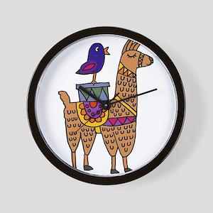 Cute Llama and Bird Cartoon Wall Clock