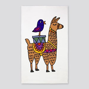Cute Llama and Bird Cartoon Area Rug