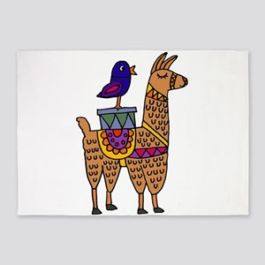 Cute Llama and Bird Cartoon 5'x7'Area Rug