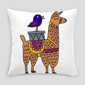 Cute Llama and Bird Cartoon Everyday Pillow