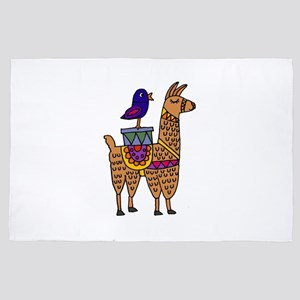 Cute Llama and Bird Cartoon 4' x 6' Rug