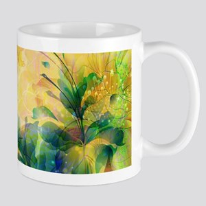Yellow And Blue-green Abstract Floral Design Mugs
