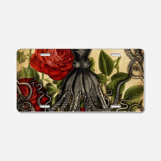 Tentacles And Roses Aluminum License Plate