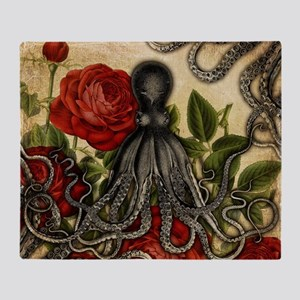 Tentacles And Roses Throw Blanket