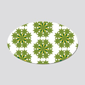 Native Green and Gold Star R 20x12 Oval Wall Decal