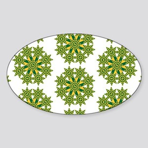 Native Green and Gold Star Round Sticker (Oval)