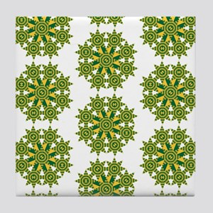 Native Green and Gold Star Round Tile Coaster