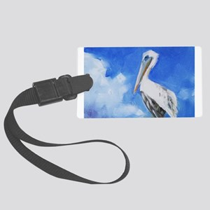 White Pelican Painting Luggage Tag