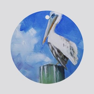 White Pelican Painting Ornament (Round)