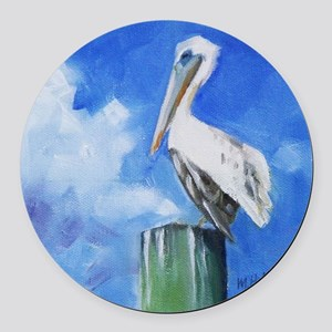 White Pelican Painting Round Car Magnet