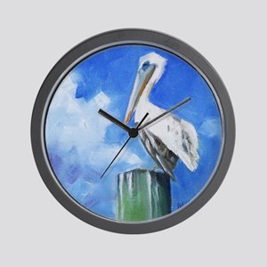 White Pelican Painting Wall Clock