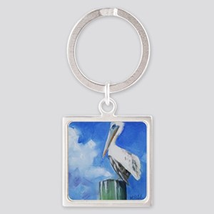 White Pelican Painting Keychains