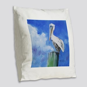 White Pelican Painting Burlap Throw Pillow