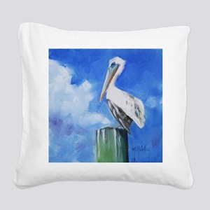 White Pelican Painting Square Canvas Pillow