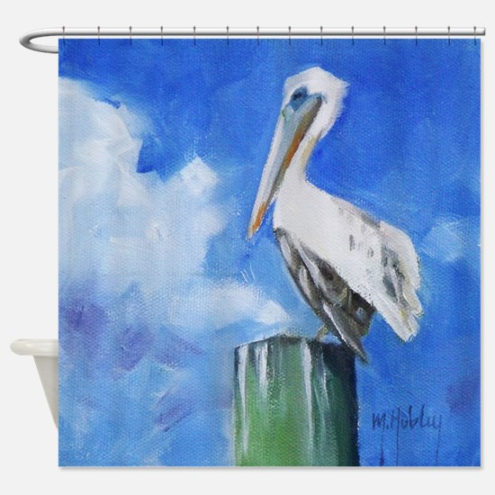 White Pelican Painting Shower Curtain