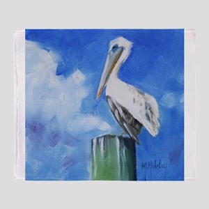 White Pelican Painting Throw Blanket