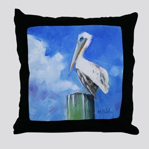 White Pelican Painting Throw Pillow